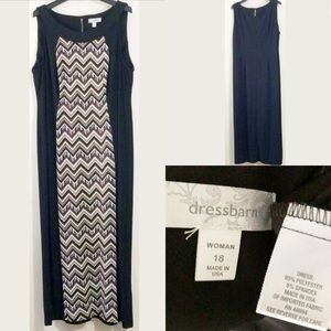 Dressbarn Plus Sz 18 Sleeveless Chevron Maxi Dress